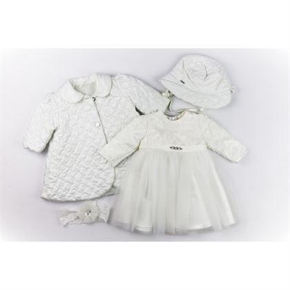 Komplet XXL na chrzest dla dziewczynki- sukienka, opaska, czapeczka i płaszczyk