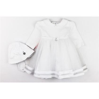 Komplet dla dziewczynki na chrzest- sukienka z czapeczką