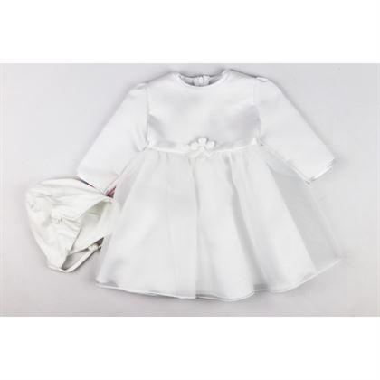 Komplet na chrzest dla dziewczynki- sukieneczka z kwiatkiem i czapeczka