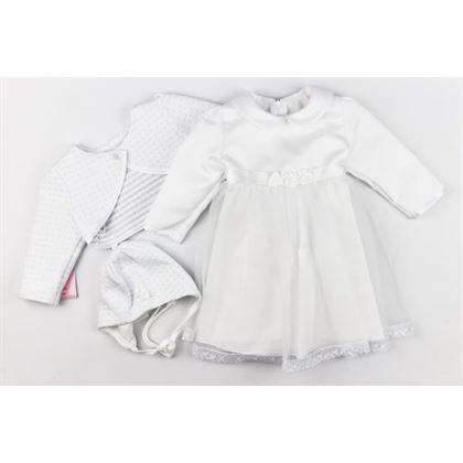 Komplet dla dziewczynki na chrzest- sukienka z kołnierzykiem, czapeczka i bolerko