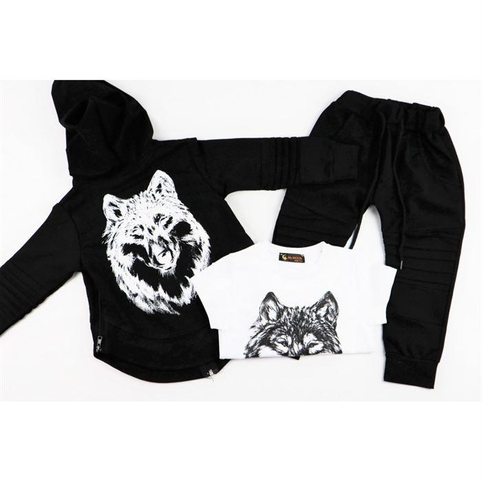 Komplet dla chłopca 3-częściowy Wilk bluza bojówki i t-shirt