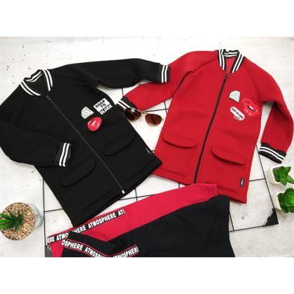 Rozsuwana czerwona bluza dla dziewczynki z neoprenowego materiału z ozdobnymi grafikami i wykończeniami lampasowymi