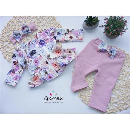 Komplet Gamex dla dziewczynki kwiatowa bluza i różowe spodnie