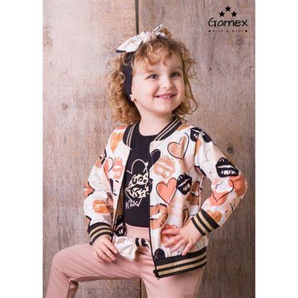 Komplet Gamex dla dziewczynki bluza bomberka i spodnie całusy