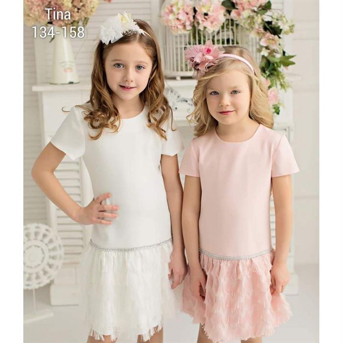 Sukienka dla dziewczynki z frędzlami i połyskującym kryształkowym paskiem