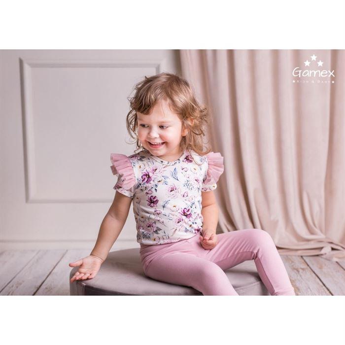 Komplet Gamex kwiatowy dla dziewczynki body ze skrzydełkami i różowe spodnie
