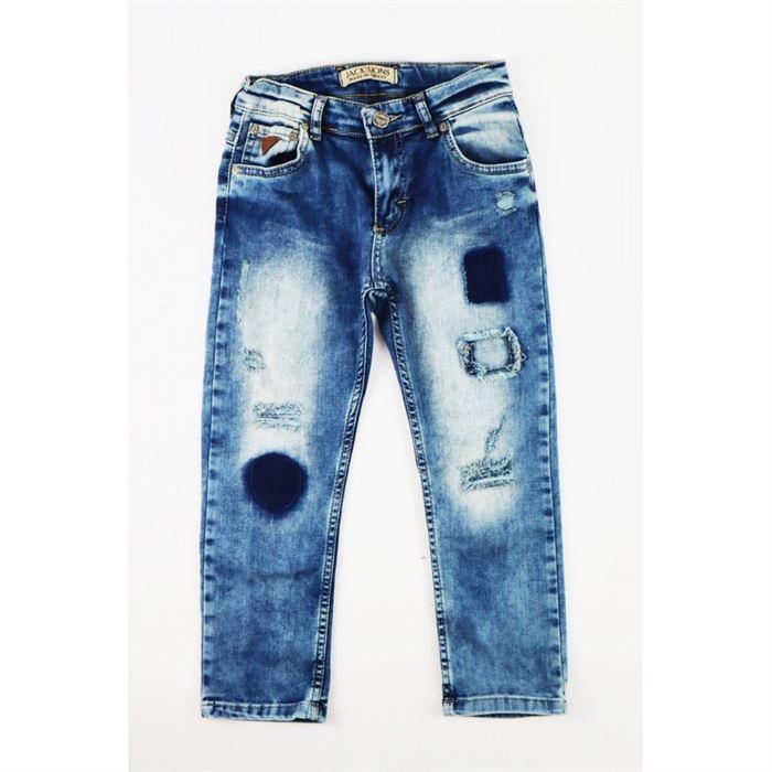 Spodnie jeansowe chłopięce z przetarciami i łatami