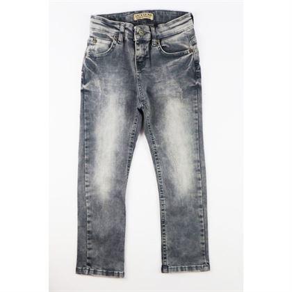 Szare spodnie jeansowe chłopięce z przetarciami