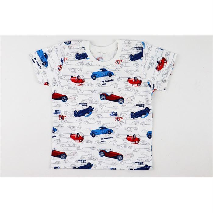 T-shirt chłopięcy biały w samochody Bambarillo