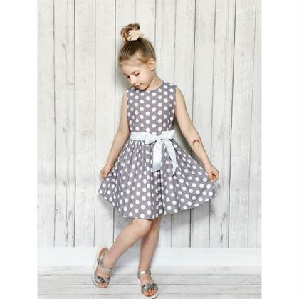 Szara sukienka dziewczęca w grochy Bambarillo