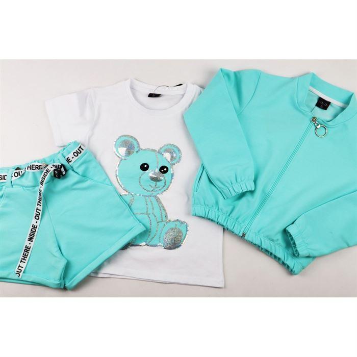 Miętowy komplet dziewczęcy z misiem- bluza, spodenki i t-shirt