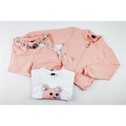 Łososiowy komplet dziewczęcy z misiem- bluza, spodenki i t-shirt