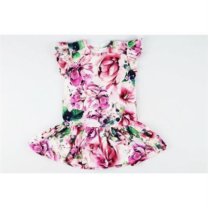 Różowa sukienka kwiatowa ze skrzydełkami dla dziewczynki