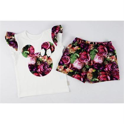 Komplet dziewczęcy t-shirt z kwiatowymi skrzydełkami i spodenki ciemniejszy