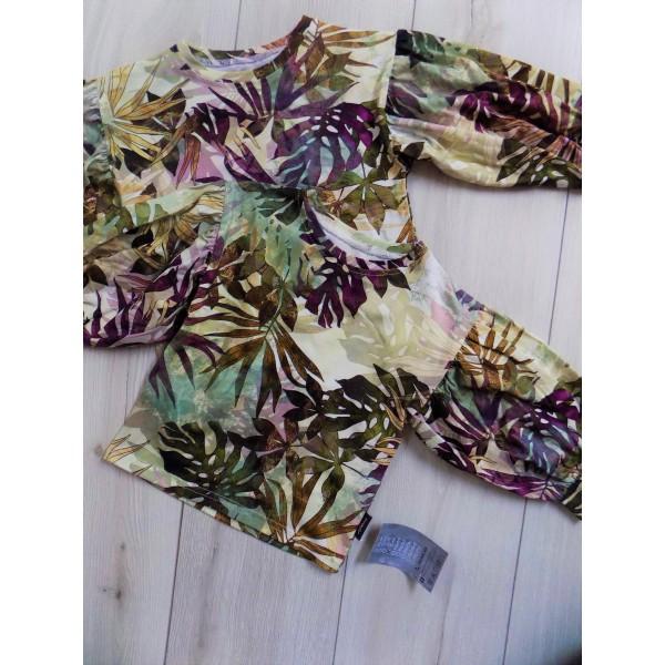 Liściasta bluzka z bufkami